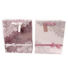 This beautiful assortment of 2 medium sized gift bags are an elegant way to give gifts to any Wedding, Birthday, christ