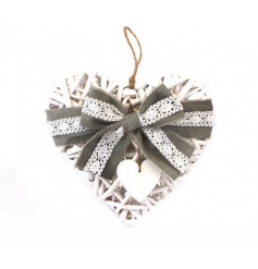 A charming white wicker heart wrapped with a grey and lace bow. A lovely decorative accessory.