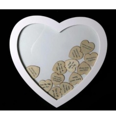 A rustic style heart shaped plaque with an assortment of miniature heart shaped slogan plaques inside.