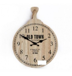 Large round wooden clock in a typical pan shape. Complete with the 'OLD TOWN' Title