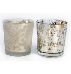 Set of 2 assorted gold and silver glass pots, complete with a crackled distressed look