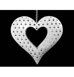 This beautiful white metal hanging heart is the perfect piece to add to any room.