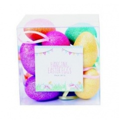Colourful and sparkly hanging easter eggs