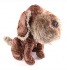 Cute dog doorstop made from a faux leather material complete with a faux fur snout