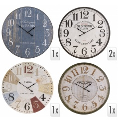 4 Separate designed round wall clocks, each with their own style and look