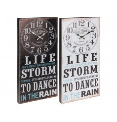 "set with a clock face at the top and a popular ""Dance in the rain"" quote on the bottom."