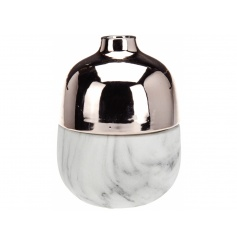 Stylish and modernised vase set with a marble edging and rose copper top