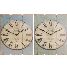 2 assorted designs of vintage themed wall clocks.
