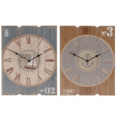 2 beautiful coastal charm themed vintage wall clocks.
