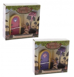 An enchanting fairyland fairy door, fairy ornament and 'fairies welcome' sign. A collectable range.