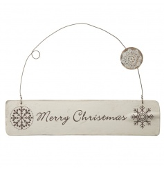 A shabby chic style wooden Merry Christmas sign with a snowflake design.