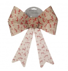 Adorn your garland, tree and presents with this nordic style bow with a festive reindeer motif.