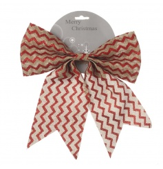 Adorn your tree, garland or gifts with this traditional red and natural bow.