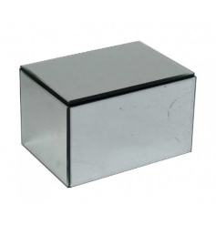 A stylish silver mirror jewellery box with black lining.