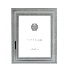 A stunning silver glitter and mirror photo frame in the popular 8 x 10 size. A lovely gift item and home accessory.
