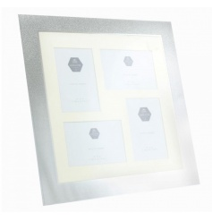 Share your favourite memories with this silver glitter collage frame.