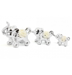 A stylish and glamorous elephant family with decorative flowers. A lovely sentiment gift for the home.