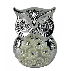A stylish and glamorous silver owl ornament with flowers.