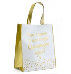 Oops, I appear to have bought Champagne again! A stylish gold and white shopping bag with a bubbles design.