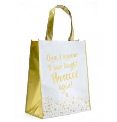 Oops, I appear to have bought Prosecco again! A stylish gold and white shopping bag with a bubbles design.