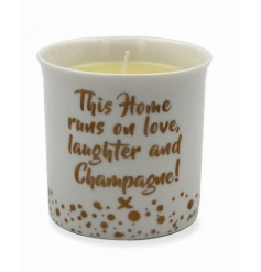 A fabulous ceramic candle pot with a honey scented candle. The perfect gift for Champagne lovers.