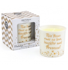 A fabulous ceramic candle pot with a honey scented candle. The perfect gift for Prosecco lovers.