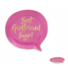 A fabulous pink and gold ceramic dish in the shape of a speech bubble. A lovely gift item for your special girlfriend.