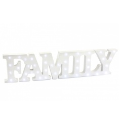 A wooden cut out FAMILY sign with built in LED lights.