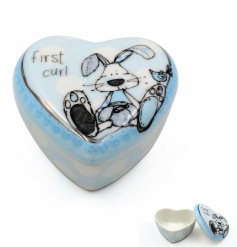 An adorable heart shaped trinket box with the popular little miracles rabbit design. A great keepsake item.