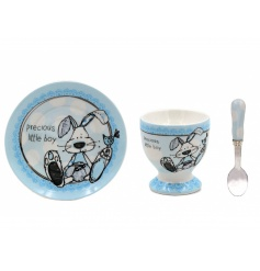 A delicate and sweet little gift set for any new baby. This blue egg cup, plate and knife set is perfect for any gift to