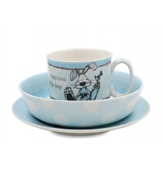 A delicate and sweet little gift set for any new baby. This blue teacup, bowl and plate set is perfect for any gift to g