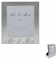 The perfect gift for the new Mr & Mrs. A stylish mirror frame with silver glitter ombre design.