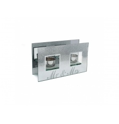 A beautiful glass mirrored double t-light holder with a silver glitter ombre design and Mr and Mrs design.