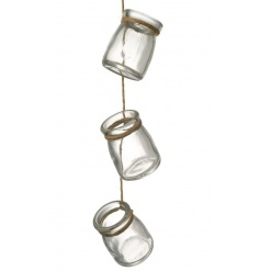 A decorative garland of mini hanging jars. Perfect for displaying LED t-lights and flowers.