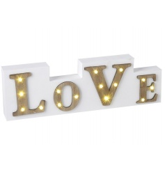 A stylish wooden block sign with LOVE text and LED lights. A unique gift item and home accessory.