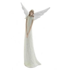 A natural carved angel decoration with a white dress and wings. A charming festive ornament.