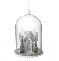 Create a stunning winter wonderland this season with this hanging cloche with snowy winter house scene.