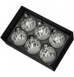 A set of 6 winter wonderland glass baubles each with a glitter festive scene.