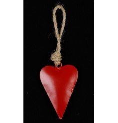 A metal heart shaped decoration in a beautiful red colour. Complete with a chunky rope hanger.