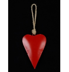 A classic red heart decoration with a chunky roper hanger.