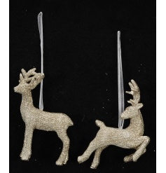 A mix of two magical gold glitter reindeer ornaments in standing and dancing poses.