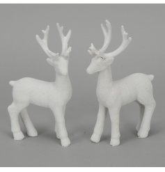 A mix of 2 white glitter reindeer ornaments. A chic accessory for the festive season.