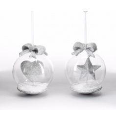 A mix of 2 silver glitter heart and star baubles, complete with artificial snow and bows.