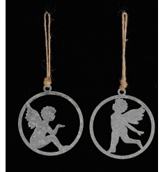An assortment of 2 charming angel decorations sat within hoops. Complete with jute string hangers.