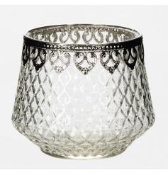 A fine quality cut glass t-light holder with a silver decorative trim.