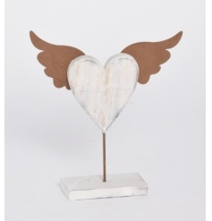 A rustic style standing heart decoration with copper angel wings.