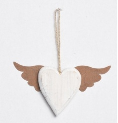 A chic and unique wooden heart hanging with copper angel wings.