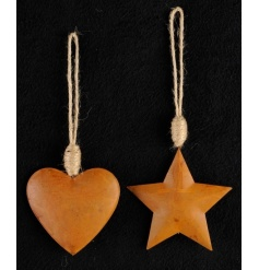 A mix of two star and heart copper decorations, each with a chunky rope hanger.