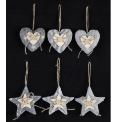 An assortment of 6 fabric heart and star decorations each in polkadot, stripe and star designs. Complete with buttons.