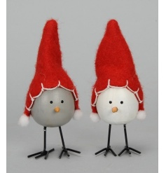 A mix of two adorable bird items, each with a felted festive hat.